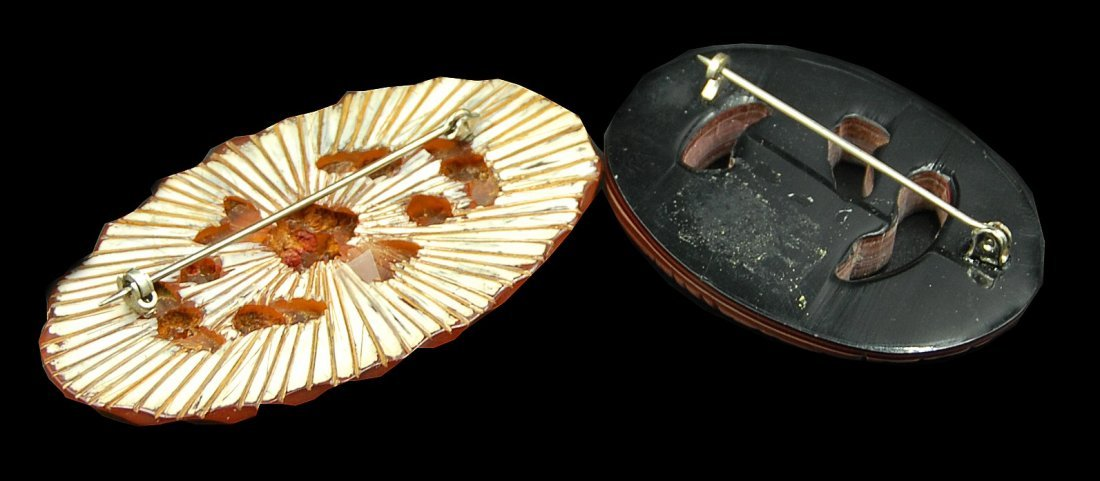 2 Carved Bakelite Pins 1 French Carved Bird And Cut - 3