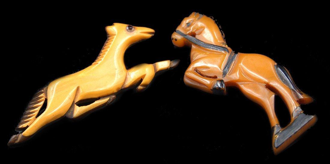 2 Carved Horse Pins 1 Laminated Bakelite On Wood,