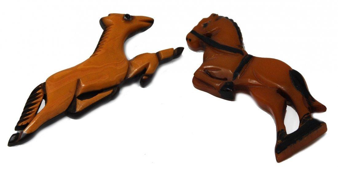 2 Carved Horse Pins 1 Laminated Bakelite On Wood, - 3