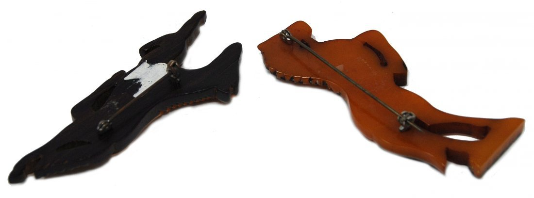2 Carved Horse Pins 1 Laminated Bakelite On Wood, - 4