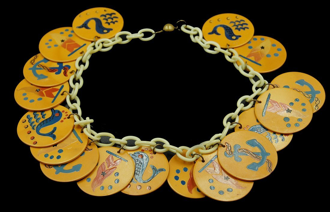 Rare Nautical Navy Theme Disc Necklace Bakelite