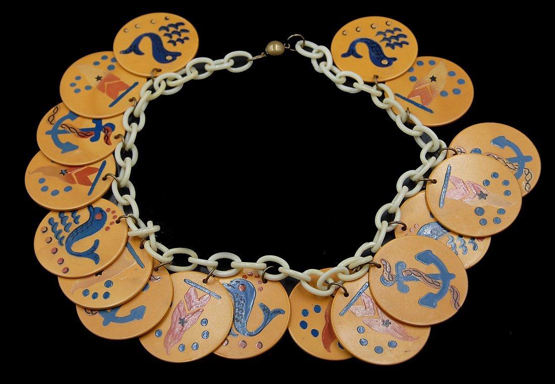 Rare Nautical Navy Theme Disc Necklace Bakelite - 2