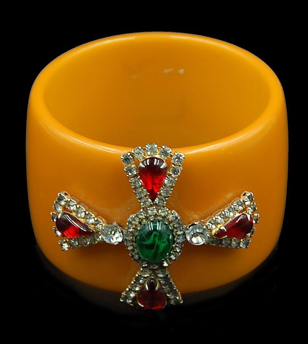 Rare Jeweled Bakelite Bangle Bracelet Rinestones - 2