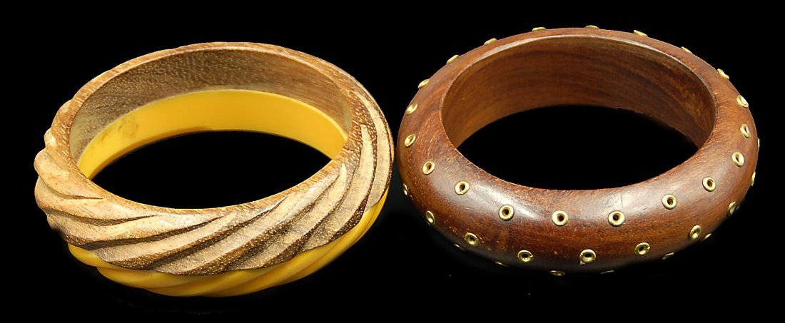 2 Wood And Bakelite Bracelets Brass Dots And Layer Two
