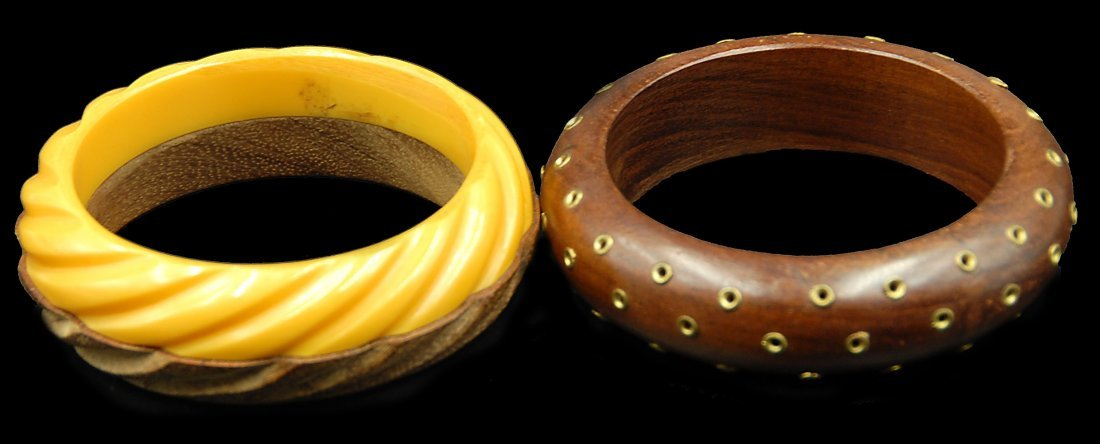 2 Wood And Bakelite Bracelets Brass Dots And Layer Two - 2
