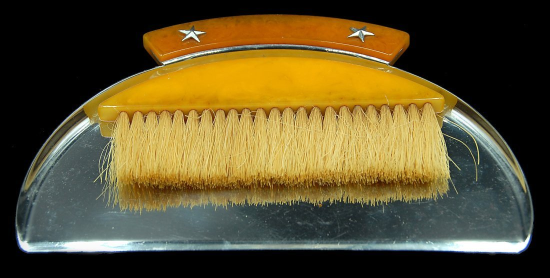 Bakleite And Chrome Art Deco Crumb Tray And Brush