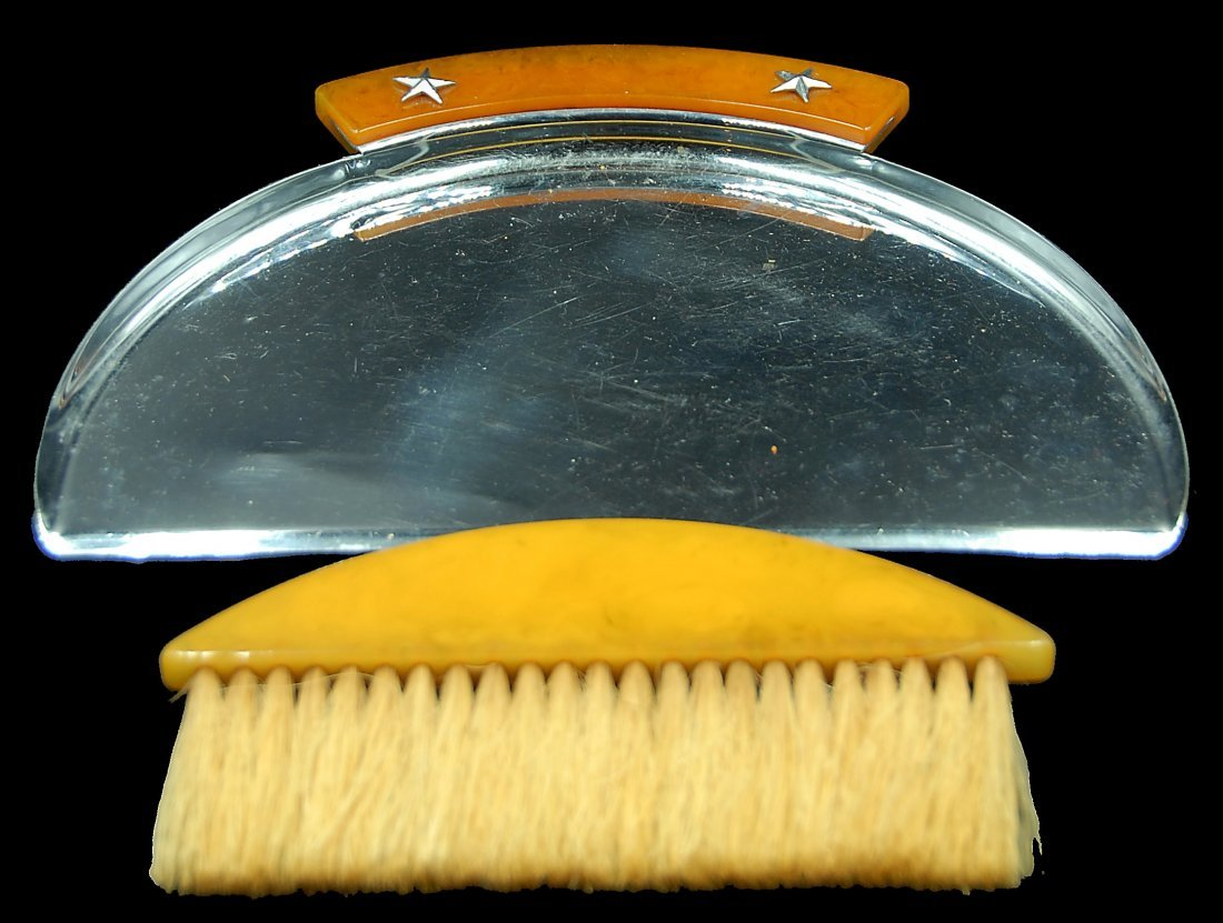 Bakleite And Chrome Art Deco Crumb Tray And Brush - 2