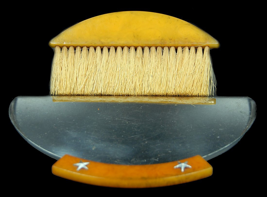 Bakleite And Chrome Art Deco Crumb Tray And Brush - 3