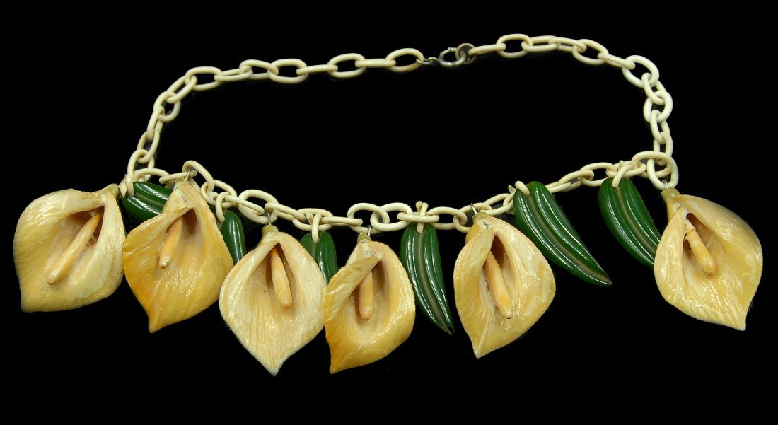 Rare Martha Sleeper Lilly Floral Necklace