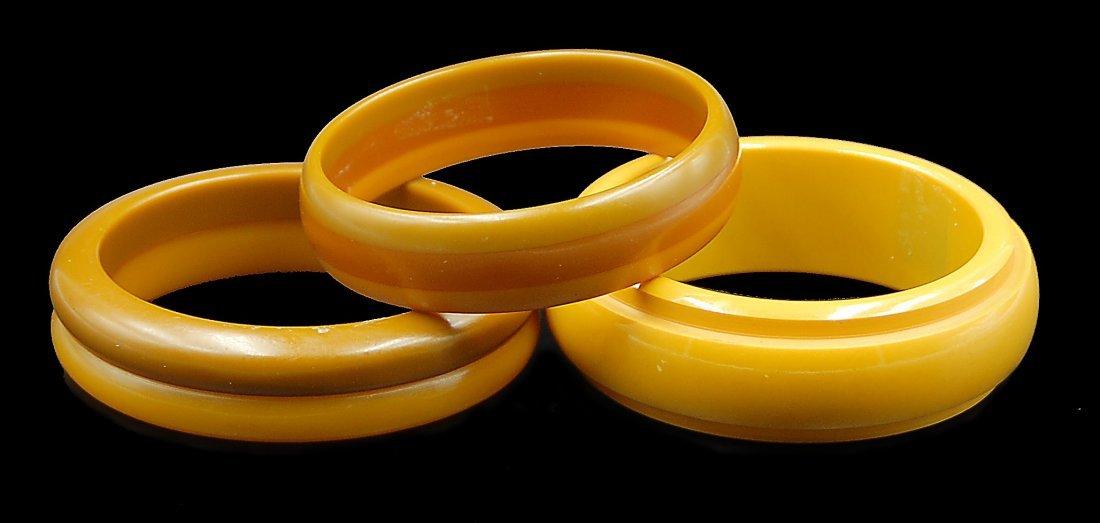 3 Bakelite Bangle Bracelets Multicolored