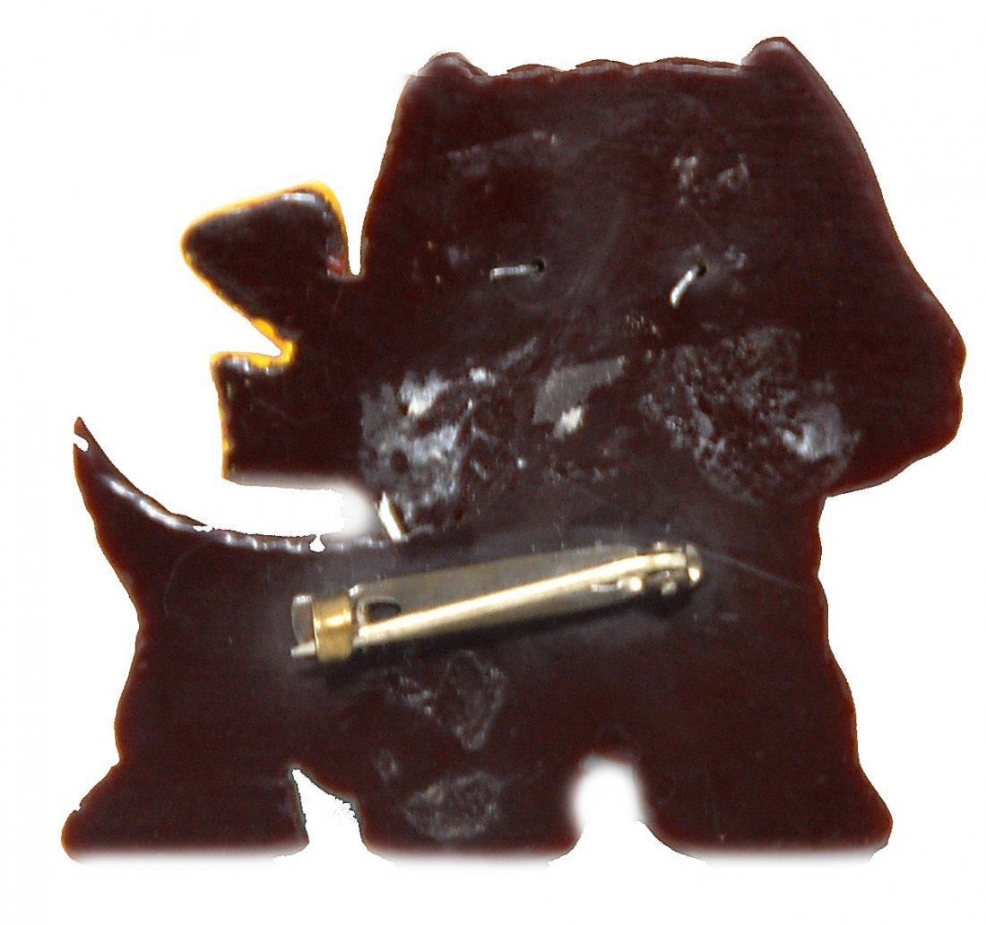 Scottie Dog Pin With Glass Eyes - 2