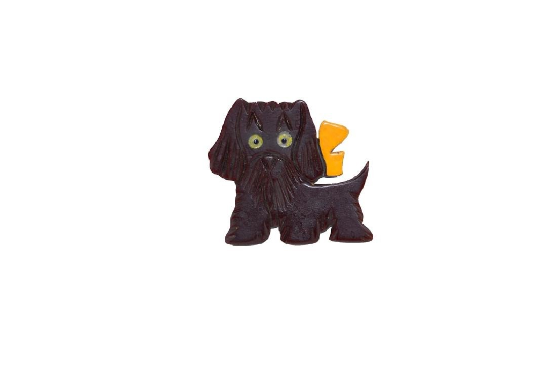 Scottie Dog Pin With Glass Eyes - 3