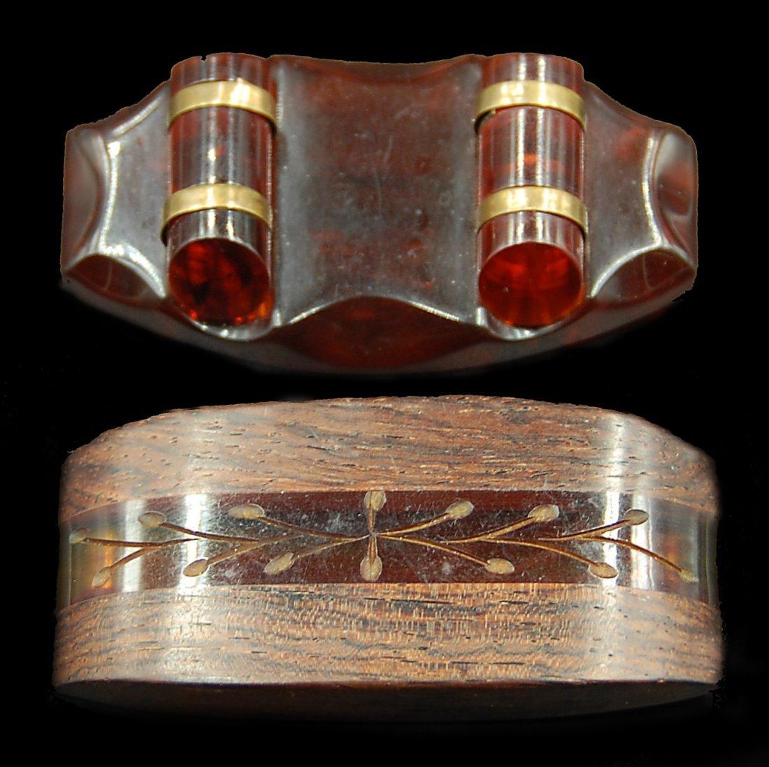 2 Wood And Bakelite Brass Pins