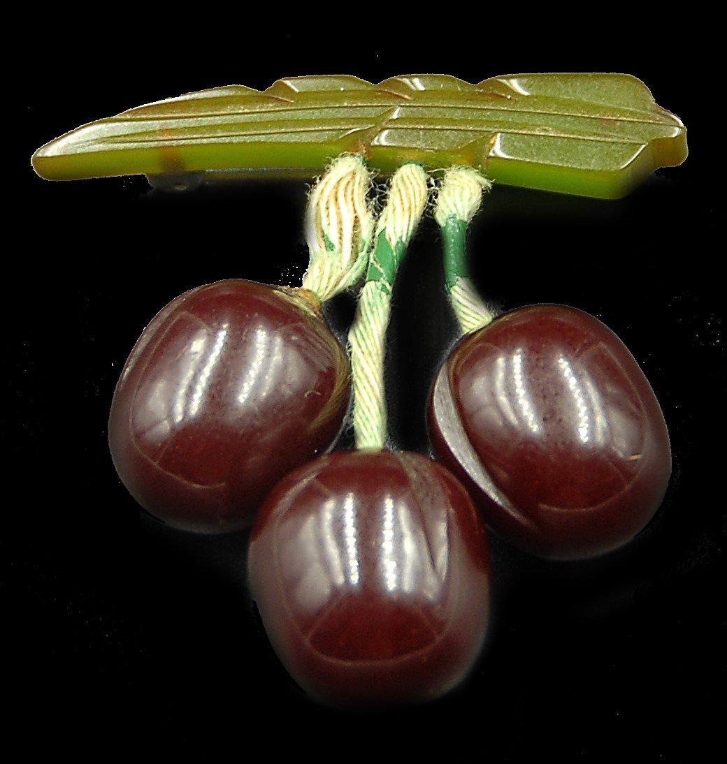 Bakelite Cherry Pin W/ Drops
