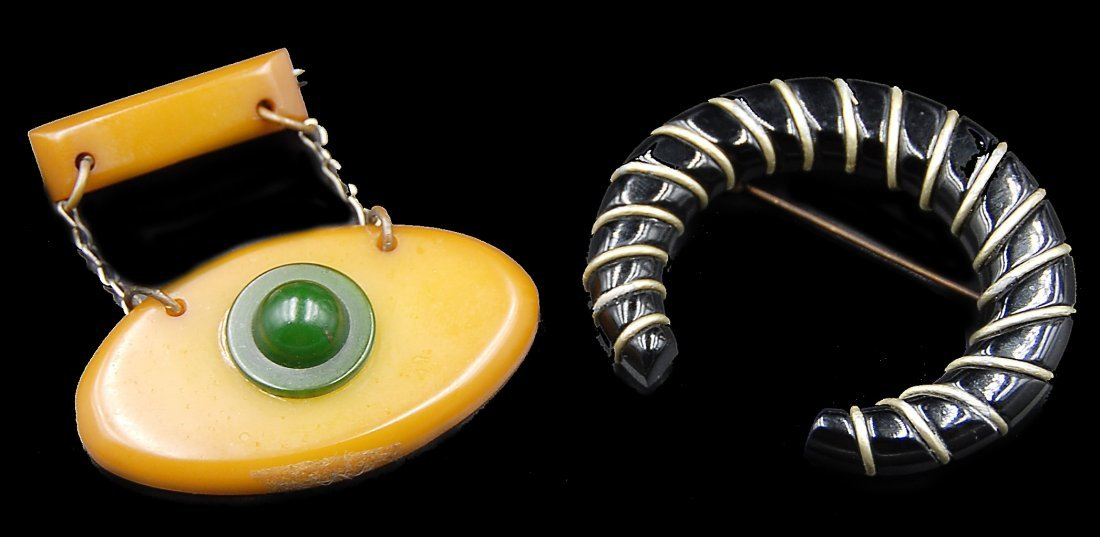2 Brass Bakelite Pins One All Seeying Eye
