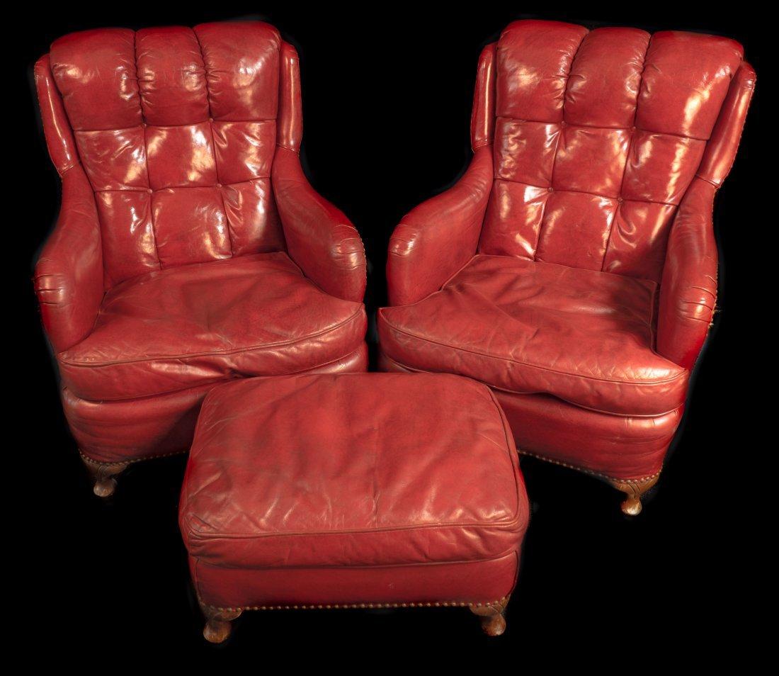 Pr. Red Leather Club Chair Circa 1940