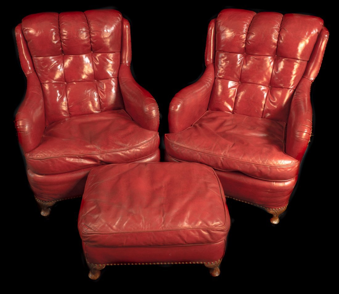 Pr. Red Leather Club Chair Circa 1940 - 2