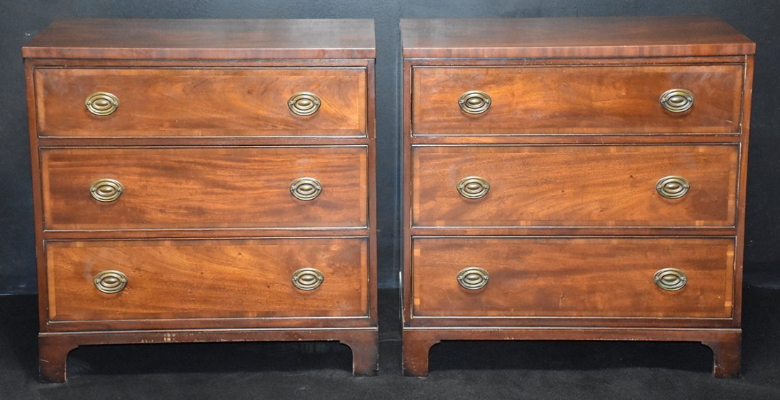 Pr. Kittinger Banded Inlay Three Drawer Chests