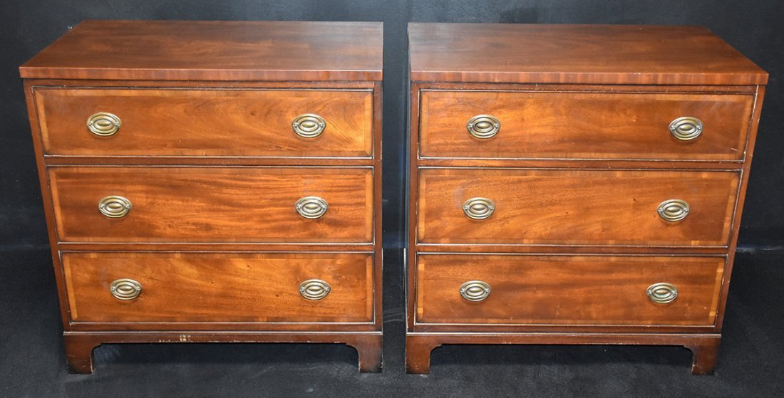 Pr. Kittinger Banded Inlay Three Drawer Chests - 2