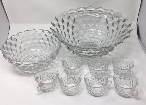 Fostoria American Pattern Punch Bowl 7 Cups And Large