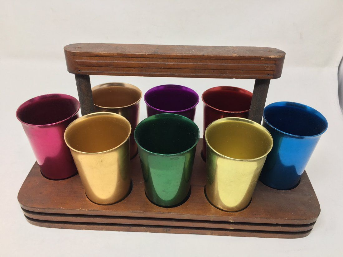 Eight Norben Ware Aluminum Cups & Fitted Tray