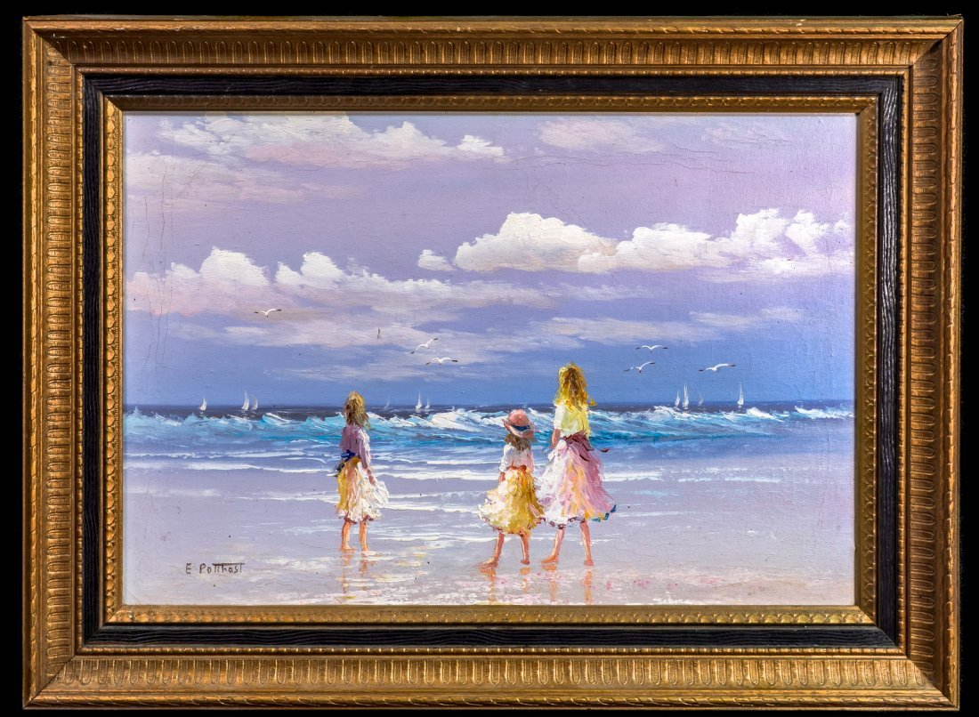 Artist Signed E Potthast Impression Oil on Canvas