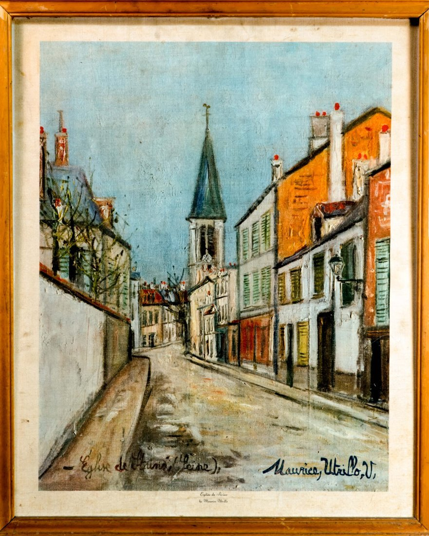 Eglise De Strins Maurice Utrillo Lithograph on Canvas