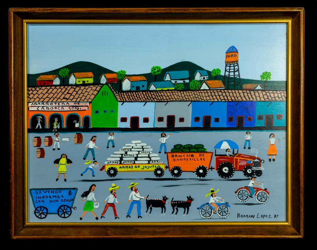 Outsider Art Roman Lopez 1987 Oil On Board