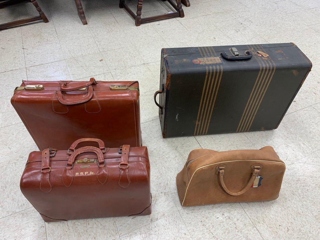 4 Antique Luggage Suitcases