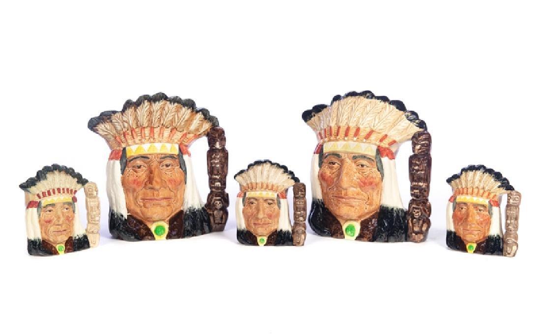 5 Royal Doulton North American Indian Mugs
