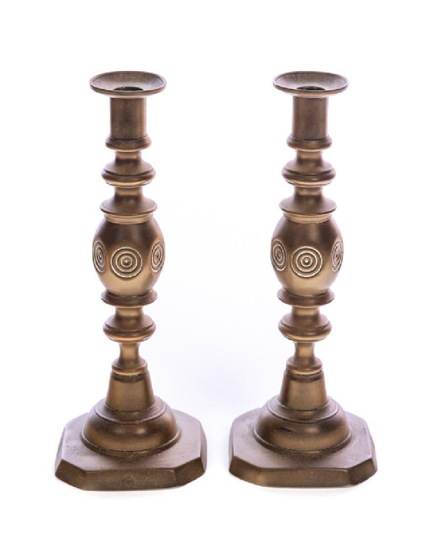 Pair of Brass 1800s Candlesticks