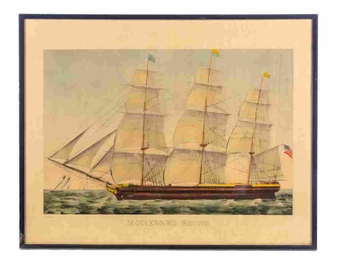 Currier and Ives Homeward Bound Lithograph