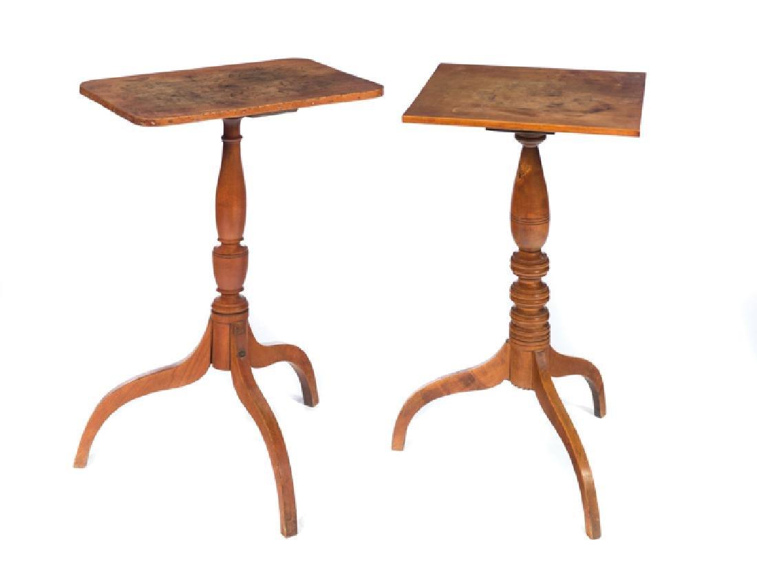 2 1800s Hepplewhite Tilt-Top Candle Stands