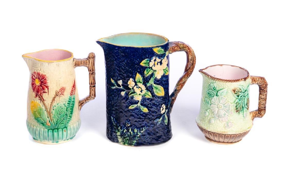3 Antique Majolica Stoneware Pitchers