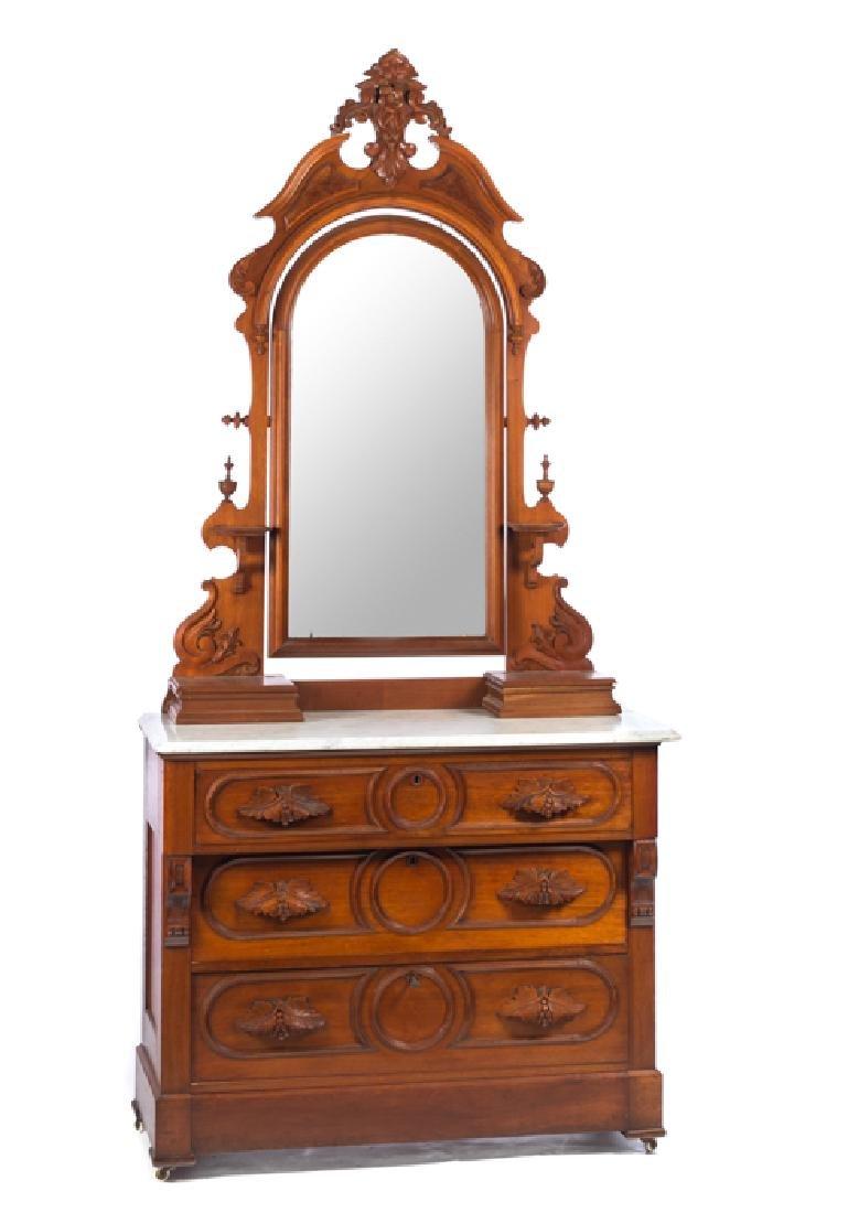 Victorian Walnut Marble Top Dresser with Mirror