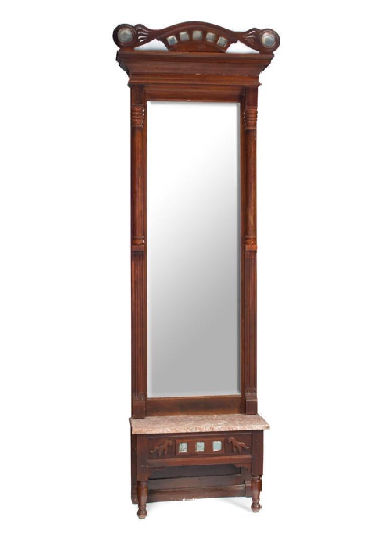 Walnut Victorian Marble Top Pier Mirror