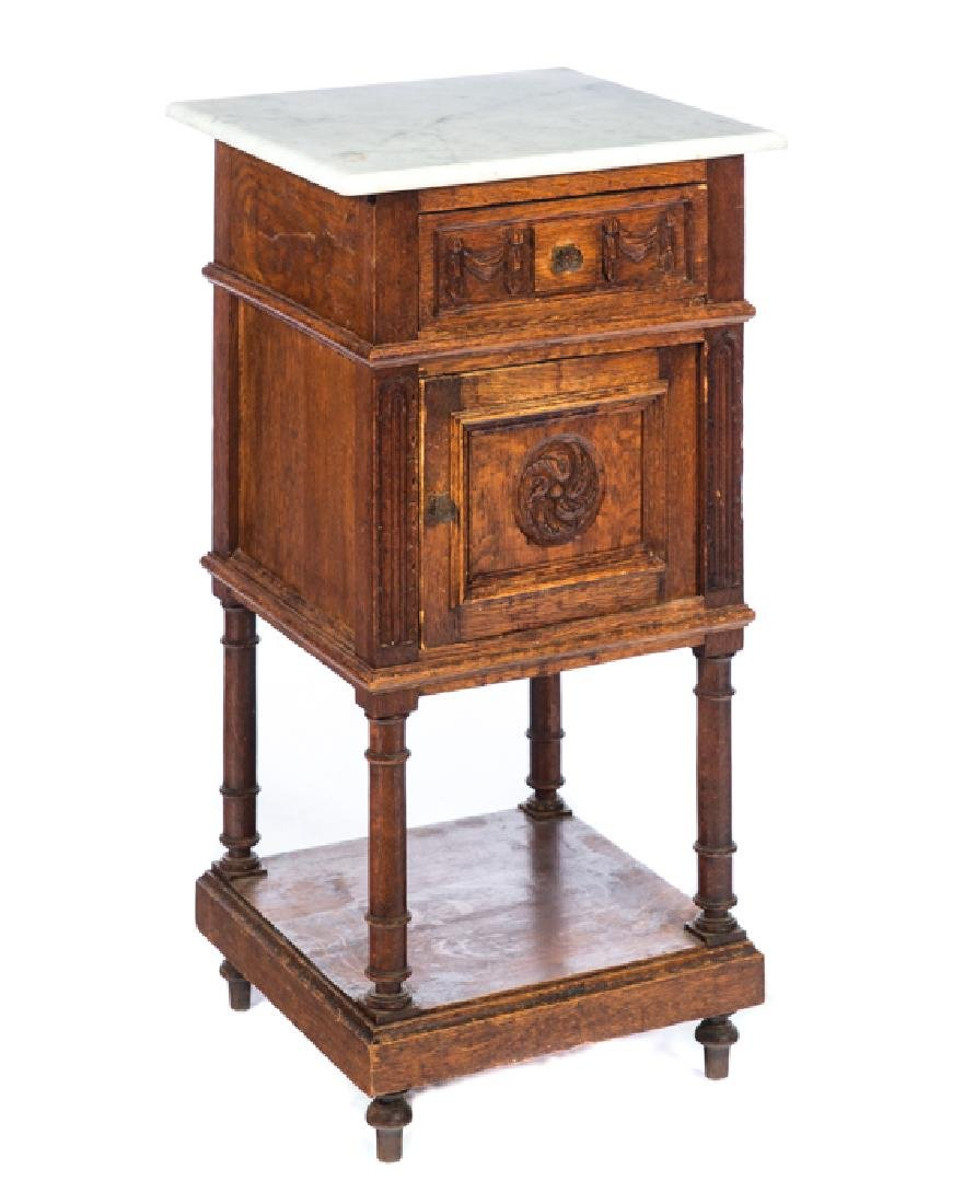 English Oak Marble Top Antique Night Stand