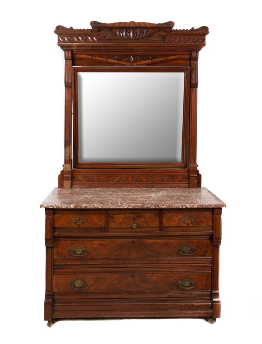 Walnut Victorian Eastlake Marble Top Dresser & Mirror