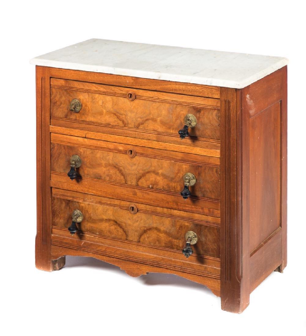 Walnut Victorian Marble Top Washstand