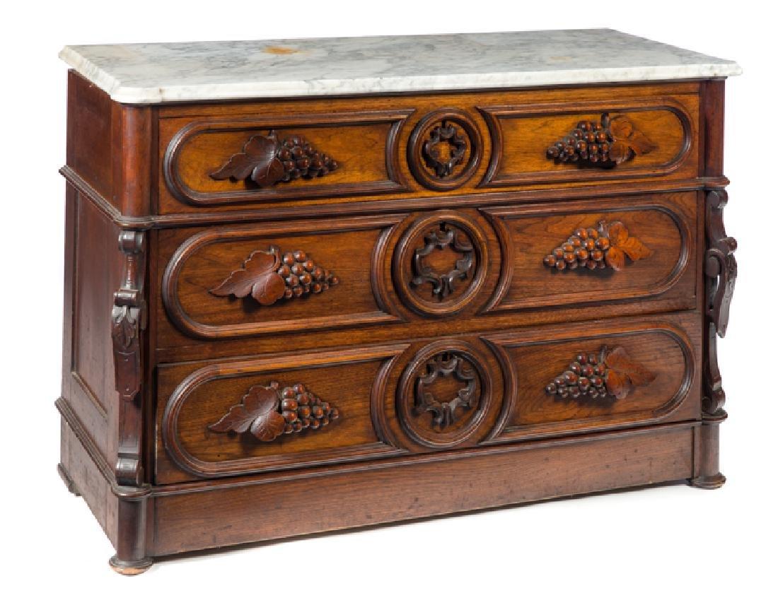 Walnut Victorian Dresser with Carved Grape Pulls