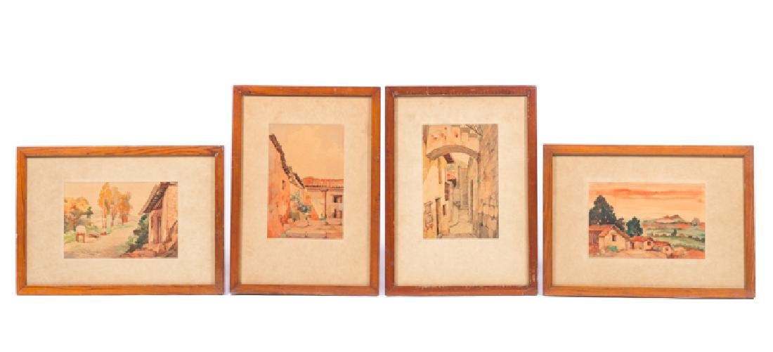 4 1948 Artist Signed Watercolor Paintings