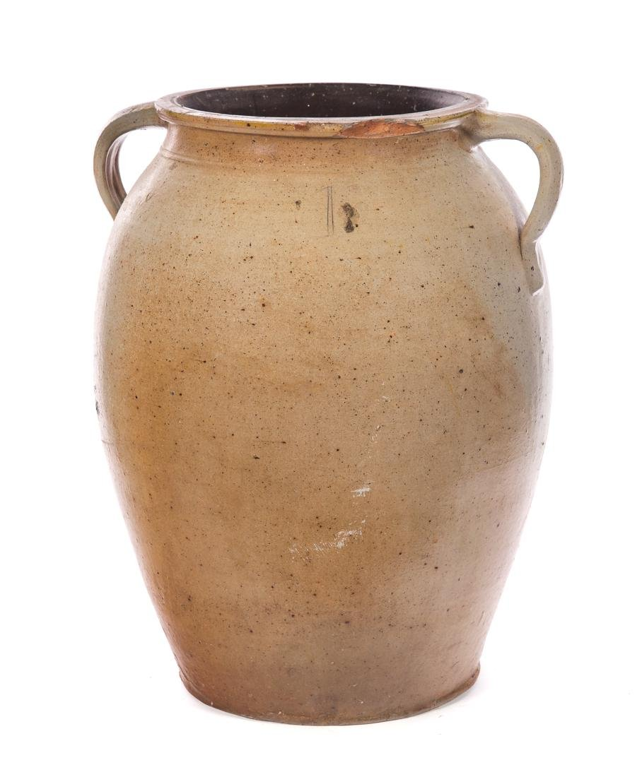 Unusual Slip Blue Decorated Stoneware Crock