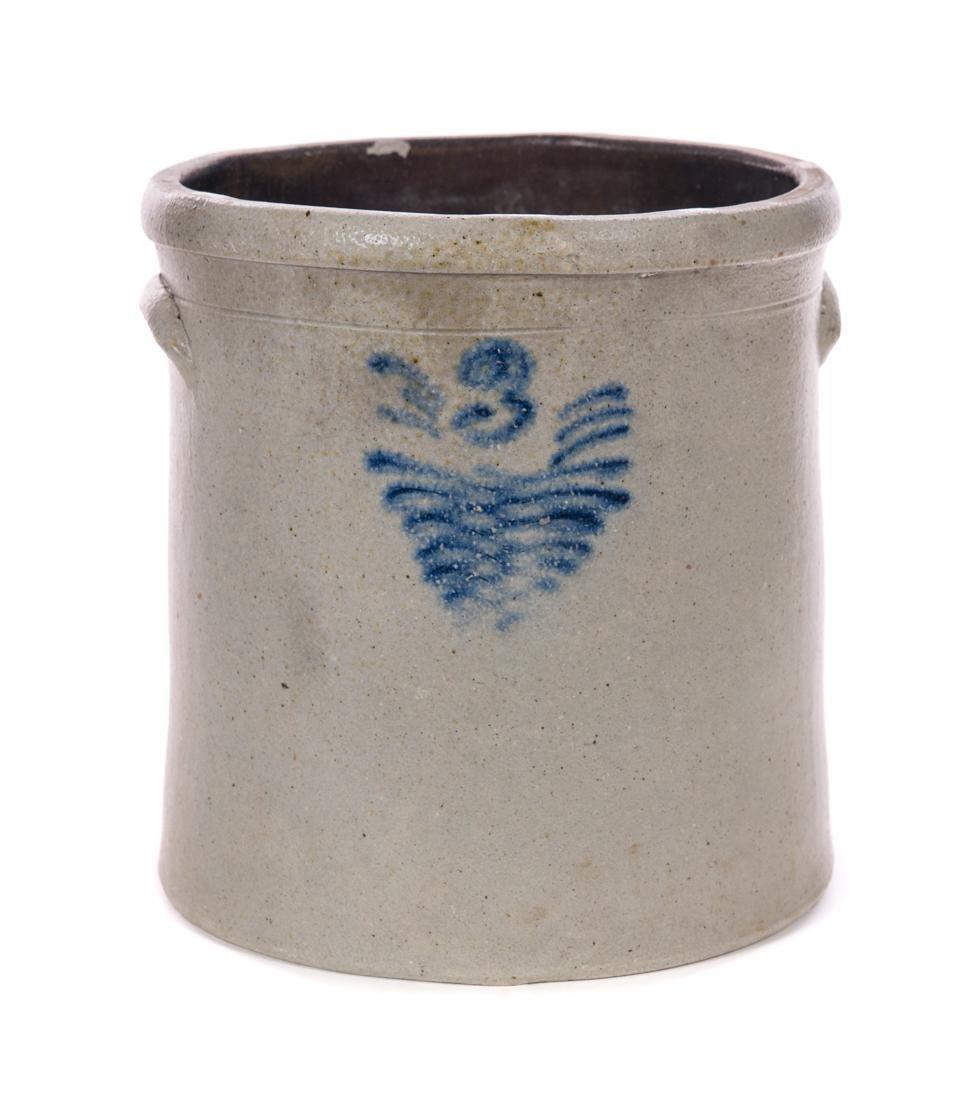 3 Gallon Blue Decorated Stoneware Crock