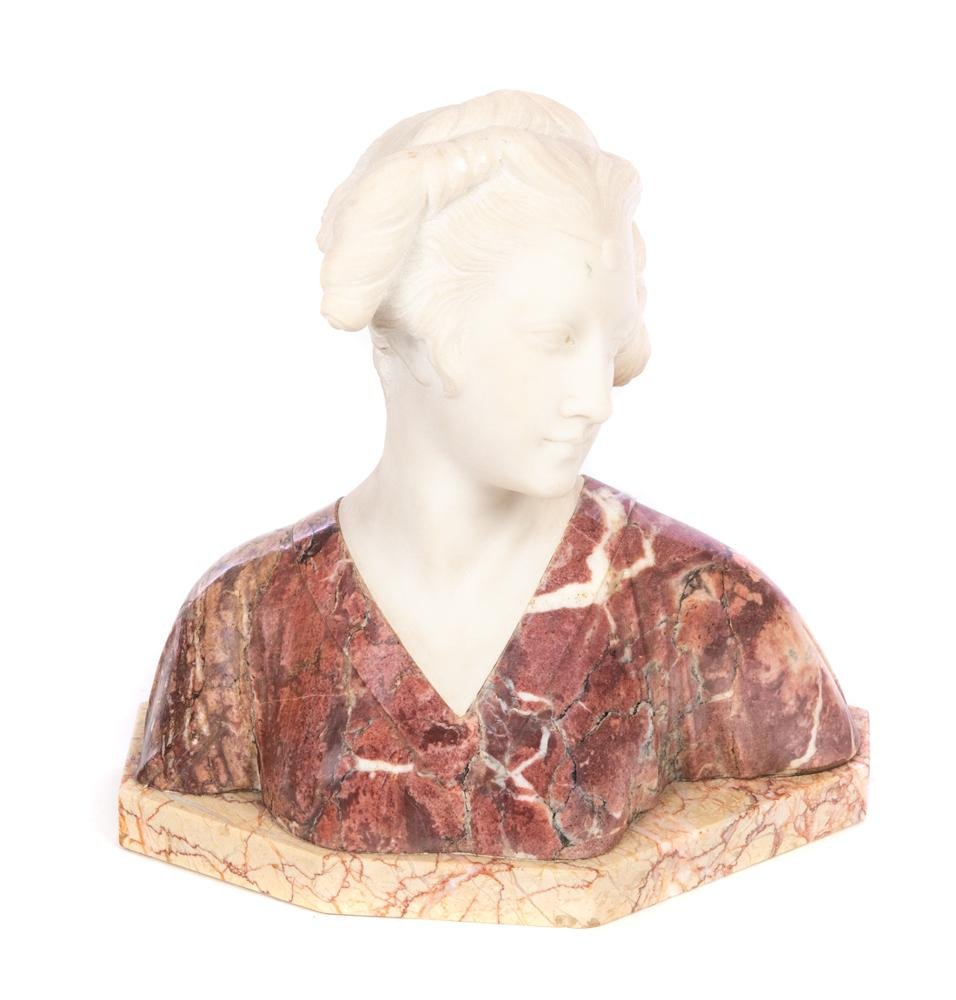 Italian marble bust of woman