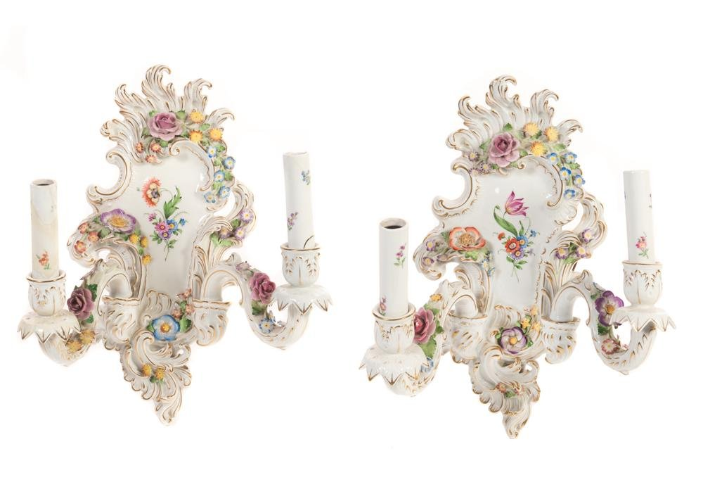 PAIR OF VON SCHIERHOLZ HAND PAINTED PORCELAIN WALL