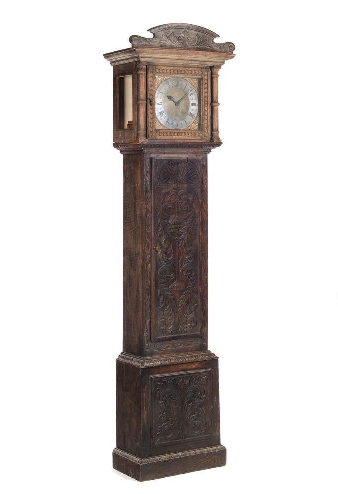Early Oak Highly Carved Grandfather Clock AS-IS