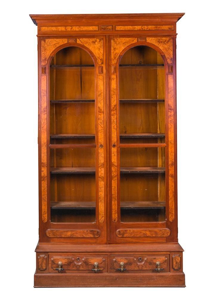 Walnut Victorian 2 Door Bookcase