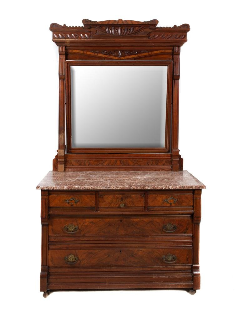 Walnut Victorian Eastlake Marble Top Dresser And Mirror