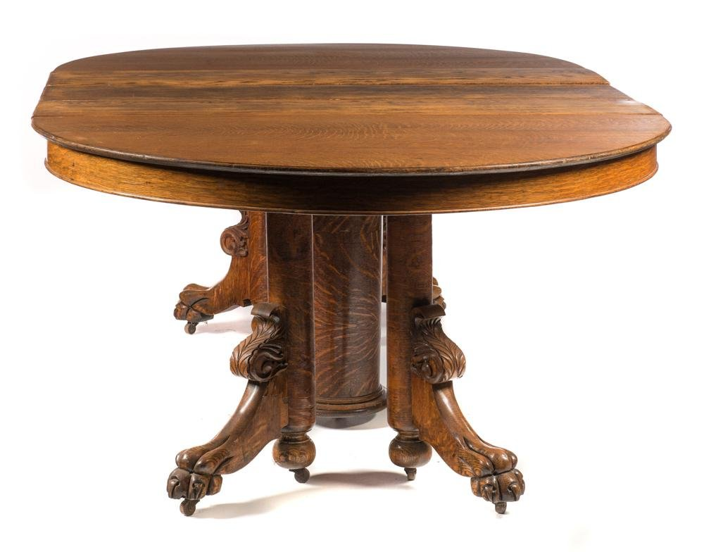 Claw Footed Oak Round Table