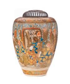 Elaborate Silver Mounted Satsuma Vase